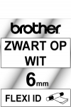 Brother TZ-FX111 Flexi ID svart på klar tejp, 6mm (ORIGINAL) TZ-FX111 080800